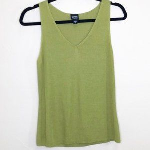 Eileen Fisher green sweater tank top shell blouse